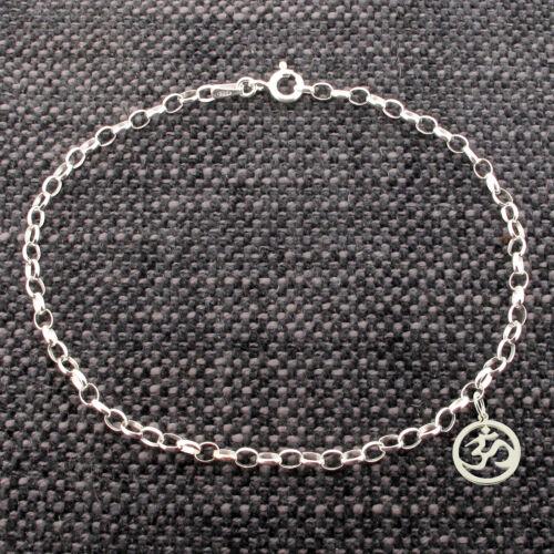 925 Solid Sterling Silver Belcher Ankle Bracelet Anklet With Ohm Aum Om Charm