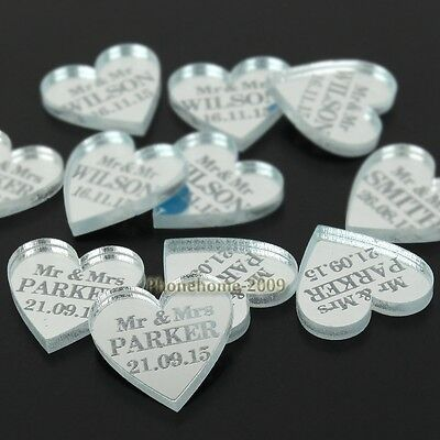 Personalised Love Heart Wedding Table Centerpieces Mr & Mrs Decor Favor 100PCS