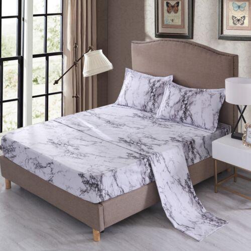 Gray Marble Sheet Set Bed Sheets Fitted Sheet Flat Sheet Pillowcase