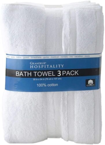 "Pre-Owned Grandeur Hospitality Bath Towel 3 Pack 34/"" x 54/"" 100/% Cotton 3 Pack"