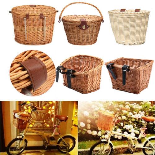 Multi-style Bike Basket Wicker Woven Bicycle Front Basket Handlebar Storage Case