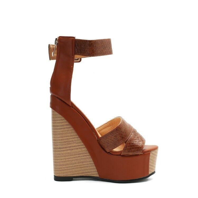 Women Peep Toe Platform Wedge Super High High High Heels Ankle Buckle Casual Sandals shoes b50be7