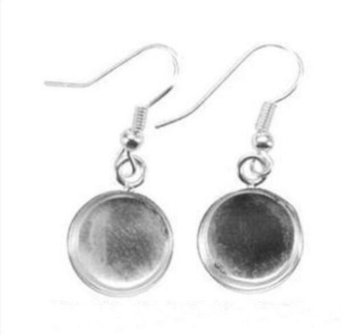 1 Pair Silver Plated 13mm Circle Dangle Earring Mounts with Fishhook Earwires *