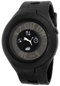 Puma-Watch-PU910211001-Men-039-s-Black-Dial-Black-Rubber