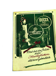 Ehrlichkeit Decca Telefunken Plattenkatalog k92 Schellack Sonstige
