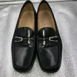 Black Sz 5 Buckle Bally Loafers Decade Leather 38 Womens 5XqXwfHU