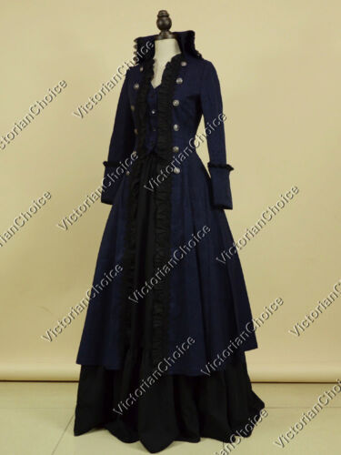 Victorian Steampunk Clothing & Costumes for Ladies   Victorian Gothic Military Coat Dress Steampunk Punk Cosplay Costume NAVY V 176 M  AT vintagedancer.com