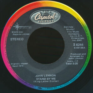 "Beatles VERY RARE 1986 JOHN LENNON "" STAND BY ME "" BLACK CAPITOL 45 NEAR MINT !"