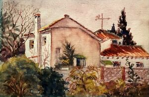 ROWE VINTAGE LANDSCAPE WITH BUILDINGS STUDY WATERCOLOR PAINTING
