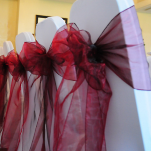25 Burgundy Organza Chair Sashes Ties Bows Wedding Anniversary Birthday Decor Ebay