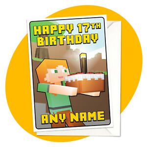 Alex-amp-Cake-PERSONALISED-BIRTHDAY-CARD-Minecraft-themed-personalized-gamer