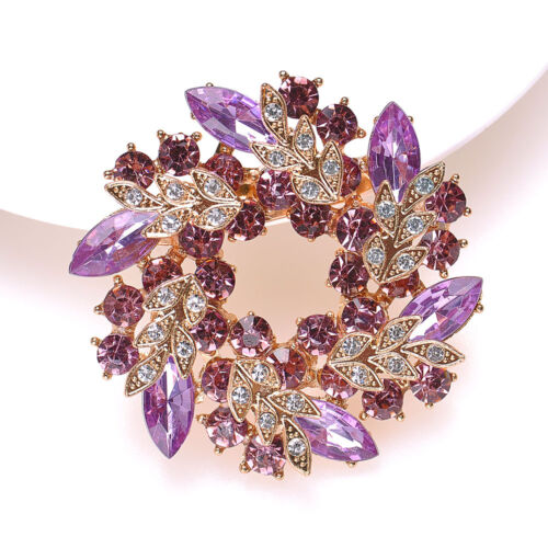 Vintage Gold Alloy Rhinestone Crystal Flower Wedding Bridal Bouquet Brooch Pins