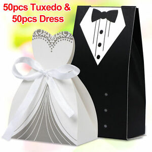 100Pcs-Wedding-Favor-Candy-Box-Bride-amp-Groom-Dress-Tuxedo-Party-w-Ribbon-TO