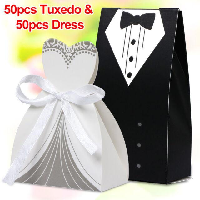 100PCS Wedding Favor Candy Boxes Bridal Groom Dress Tuxedo Party Ribbon Gift