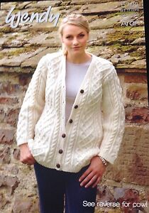 7826f8f9fa05 Image is loading Wendy-Knitting-Pattern-5704-Men-Ladies-Aran-Cardigan-