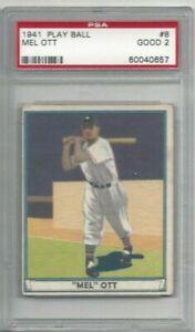 Details About 1941 Play Ball Baseball Card 8 Mel Ott New York Giants Graded Psa 2