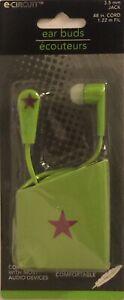 Earphones-Ear-Buds-Lime-Green-Comfortable-3-5mm-Jack-4ft-Cord-For-Smartphones