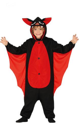 Kids Bat Costume Wings Hood Halloween Boys Girls Fancy Dress Outfit Age 7-12 NEW