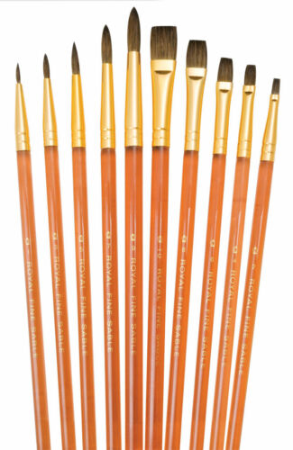 FINEST PURE SABLE ROUND /& SHADER SET 10 SVP-6 BRUSHES PACK NEW ROYAL BRUSH