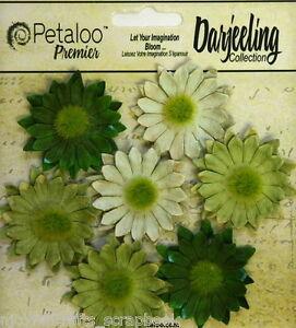 GREEN-Mix-7-Mini-DAISY-Paper-Flowers-Green-Cntr-30mm-across-Darjeeling-Petaloo