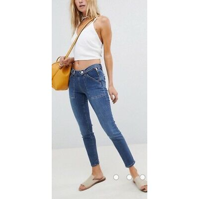 NWT Free People Stratford Low Rise Skinny Crop Jeans Blue