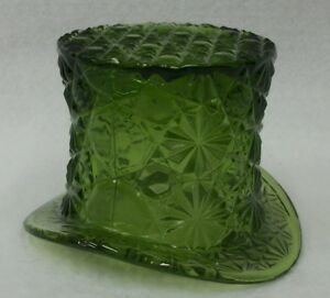 L-E-Smith-Green-Daisy-and-Bow-Depression-Glass-Hat-Candy-Dish-Bowl