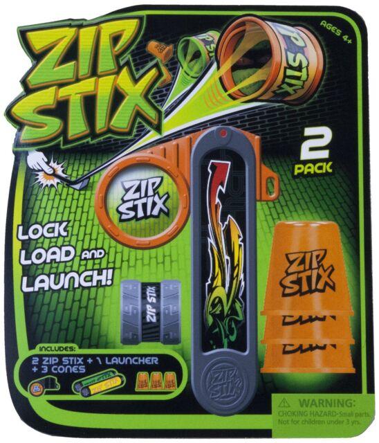 New Zip Stix Twin Pack Includes 2 x Zip Stix, 1 x Launcher, 3 x Cones Kids Toy