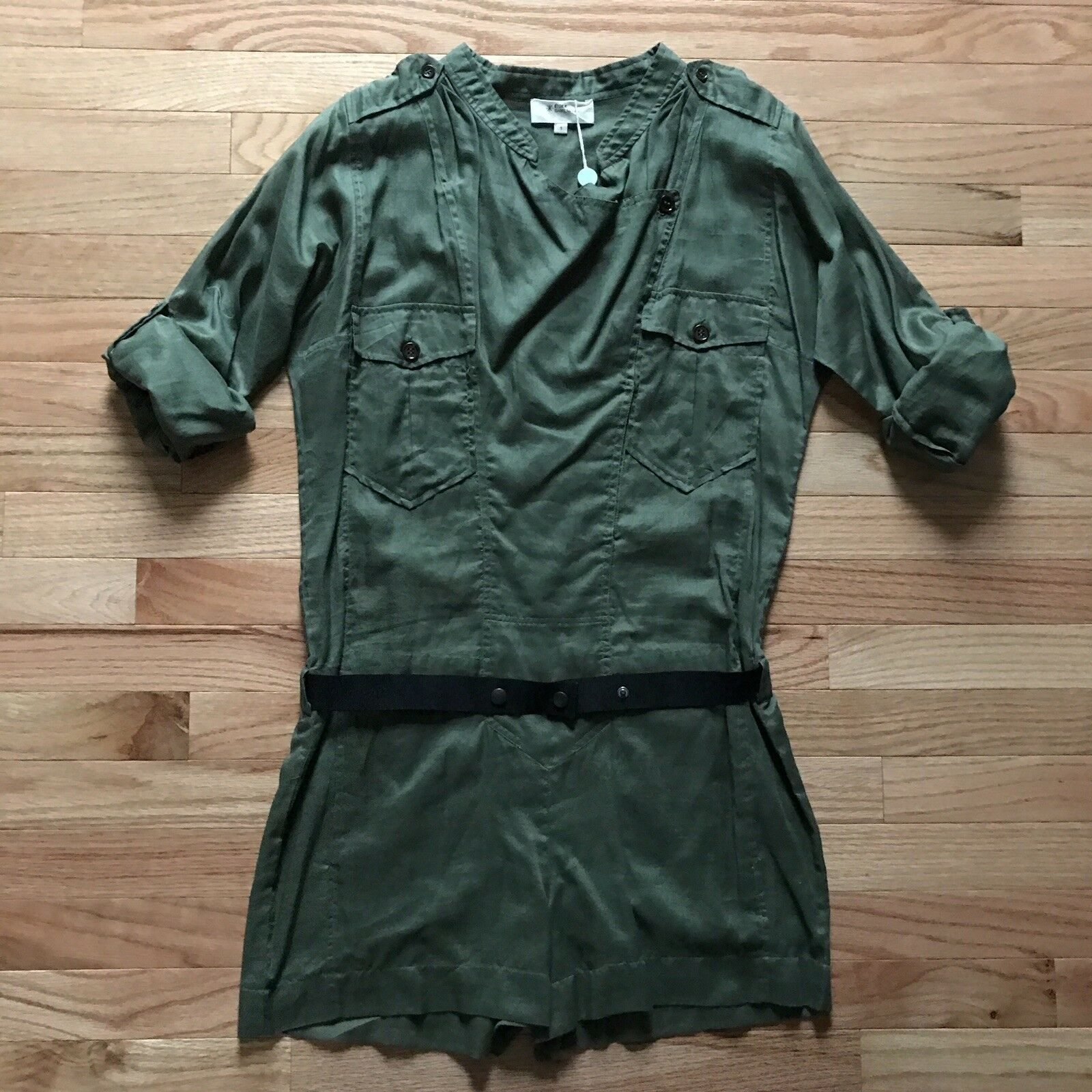 NEW Etoile Isabel Marant Army Green Cotton Belted Playsuit - La Garconne  400+