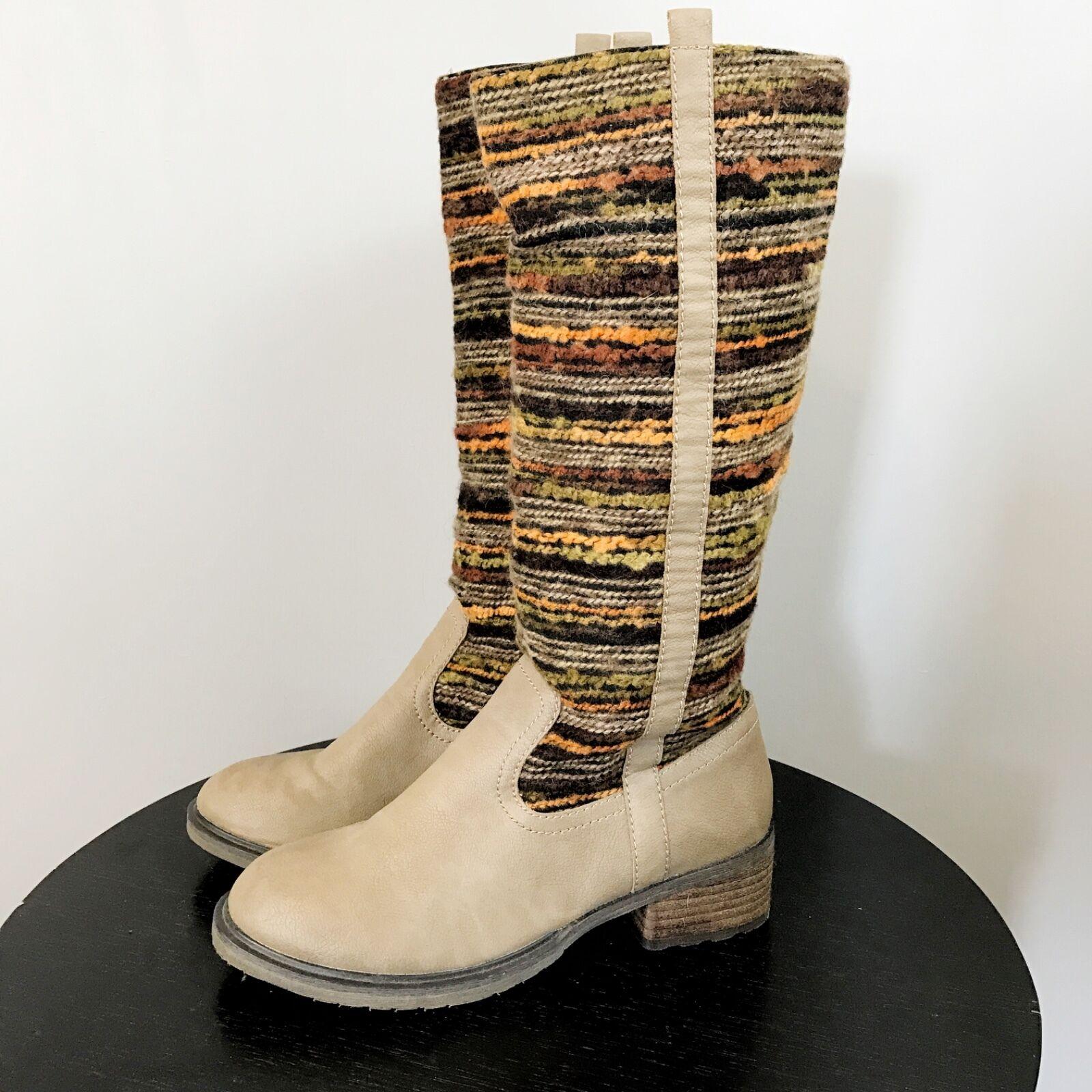 SBICCA Boho Hippie Boots SZ 6.5 Tapestry Shaft Pull On Festival Gypsy Grey