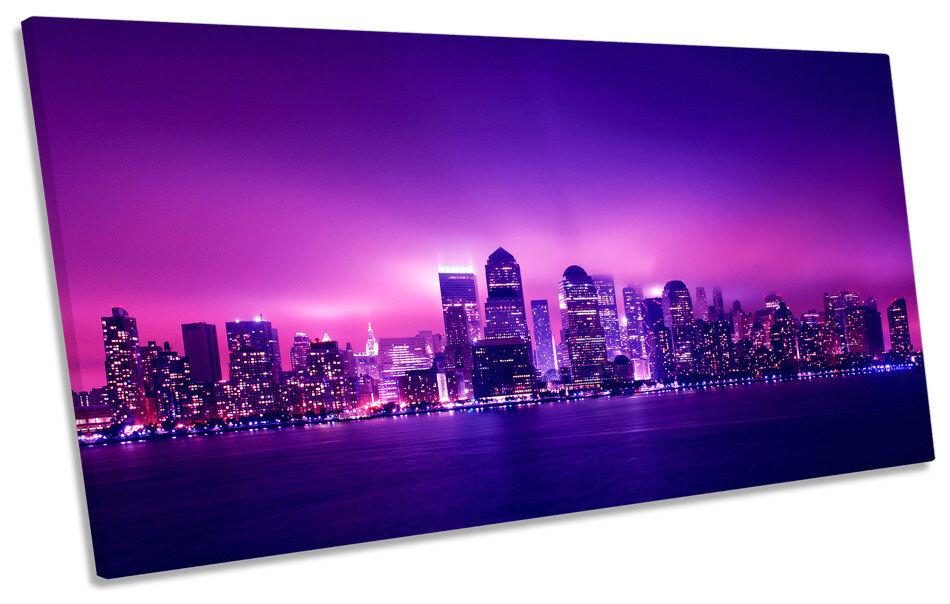 Ciudad Ciudad Ciudad de Nueva York Noche Panorámica LONA parojo arte enmarcado impresión 995aaf