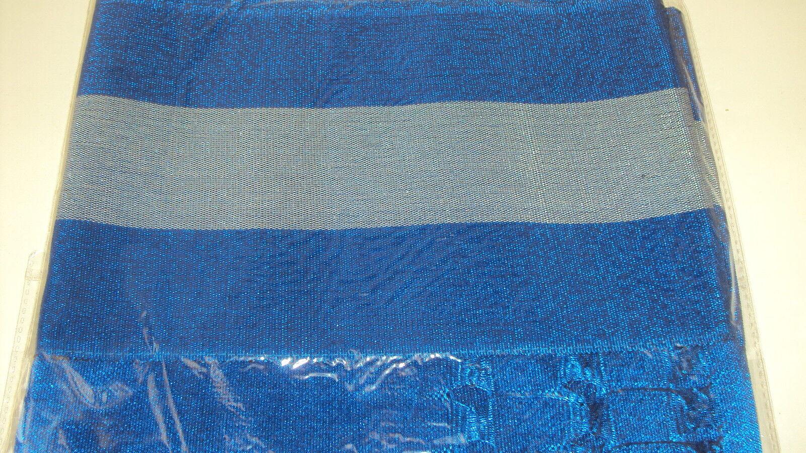 NIGERIAN Aso Oke Gele (Headtie) Royal Blue & Silver Stripes - 1 Piece