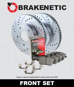 FRONT BRAKENETIC SPORT Drill Slot Brake Rotors POSI QUIET CERAMIC Pads BSK82850
