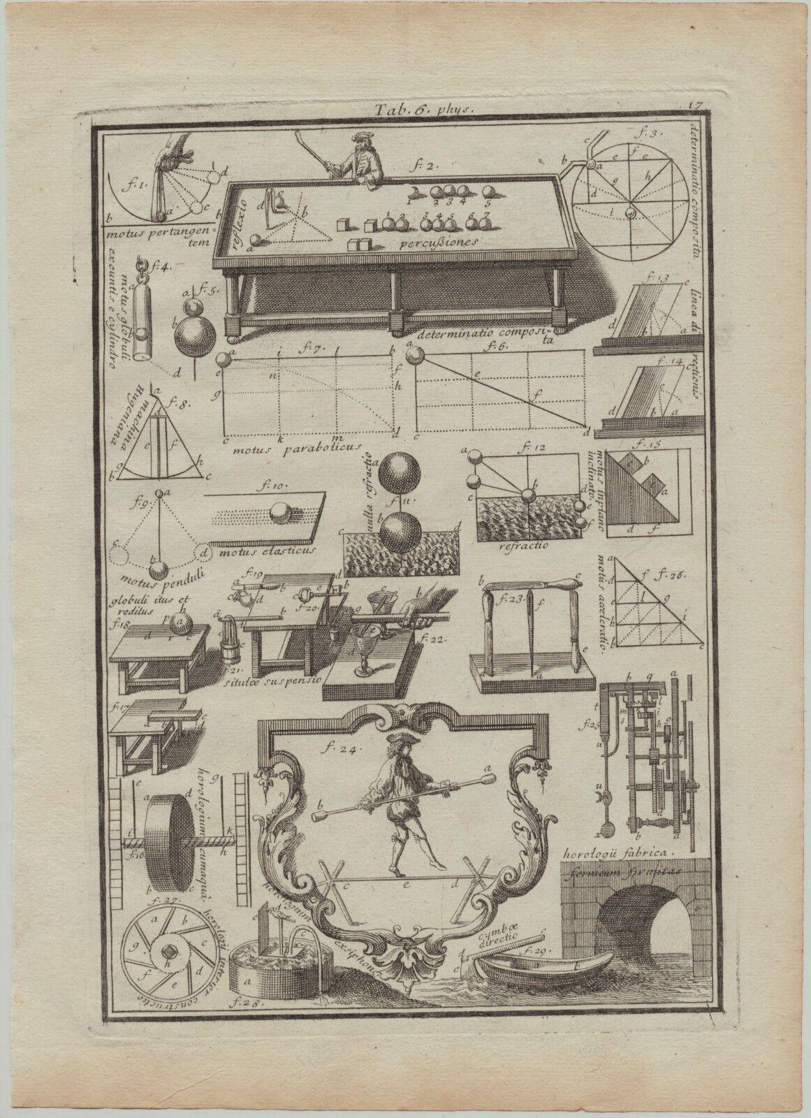 BILLARD Queue Original Kupferstich um 1700 Physik Seiltanz Jahrmarkt Akrobatik
