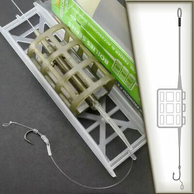 Carp Rig Feeder Cage In-Line Fertig 2 Rig Montage mit Futter Korb Karpfen Angeln