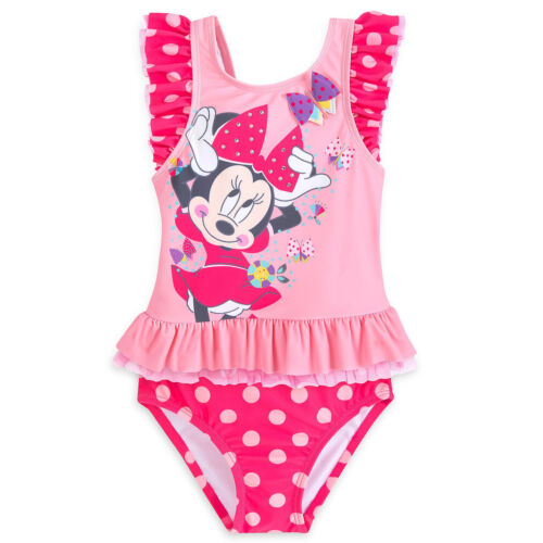 NWT Disney Store Minnie Mouse Deluxe 2pc Swimsuit Girls UPF 50 4,5//6,7//8
