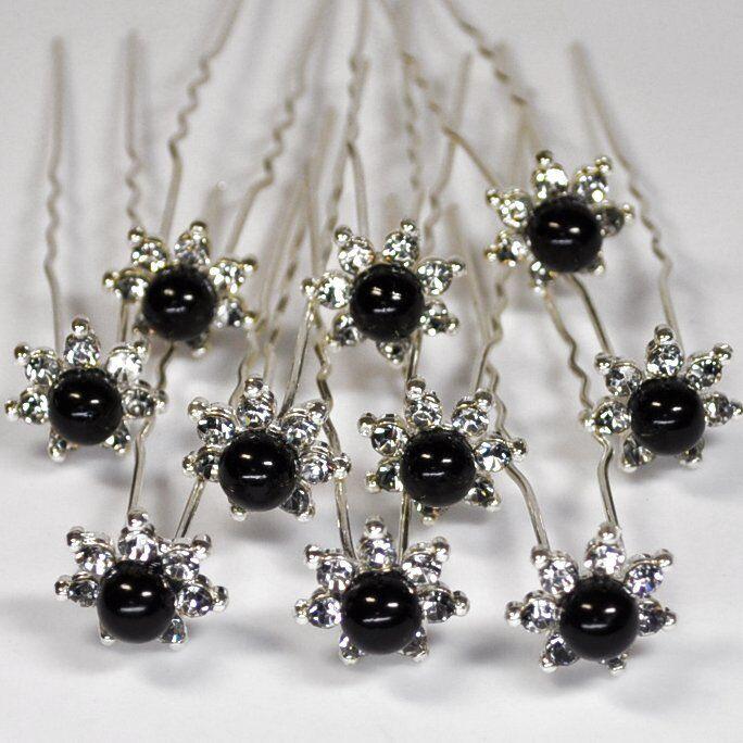 Set 10 star pins bridal wedding flower pearls hair rhinestones black