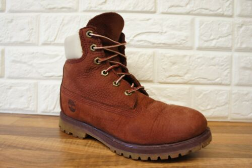Timberland Timberland Leather Burgundy Burgundy Brown 6 5 5 Womens Pelle 6 Uk Size Womens marrone scuro Size Uk Tan przpq