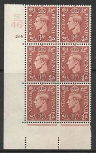 1½d Brown Cylinder Control S 46 184 No Dot perf 5(E/I) UNMOUNTED MINT/MNH