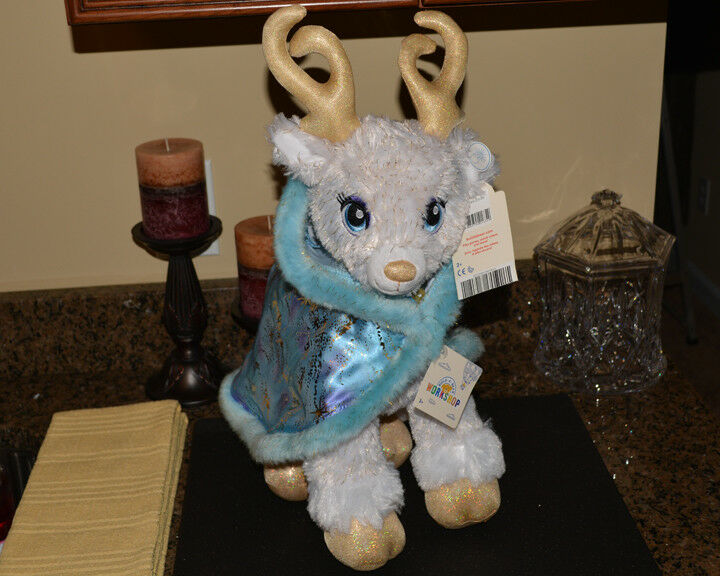 Build A Bear oroen Glisten bianca Reindeer With Cape & Name Tag Light Up Antlers
