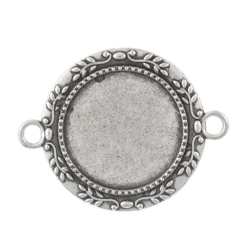 5 Antik Silber Charm Cabochons Kamee Klebestein Fassungen Anhänger 28x35mm