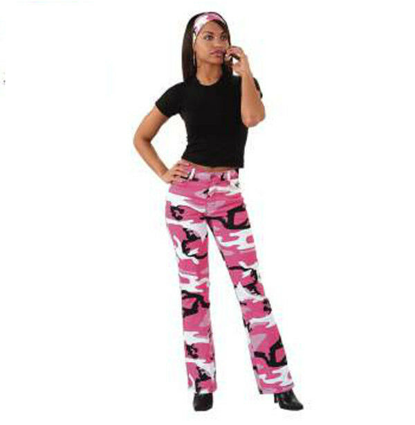 redhco 3348 Women's Pink Camouflage Stretch Flare Pants Sizes  1-2  to19-20