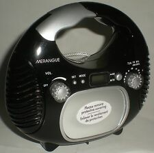 SHOWER WATER RESISTANT AM/FM RADIO LCD DIGITAL CLOCK FOG FREE MIRROR BLACK NEW