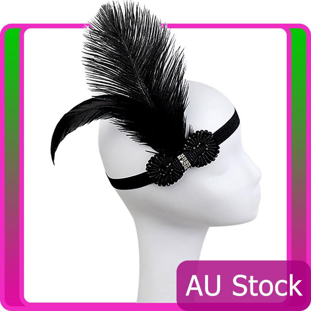 1920s Headband Black Feather Vintage Bridal Gatsby Flapper 20s 20's Headpiece