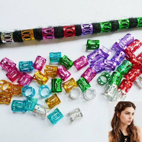 20Pcs Dreadlocks Cuffs Clips Hair Ring Wrap Beads Tube Box Braids Accessories US
