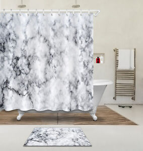 Image Is Loading 180x180cm Marble Style Bathroom Waterproof Fabric Shower Curtain