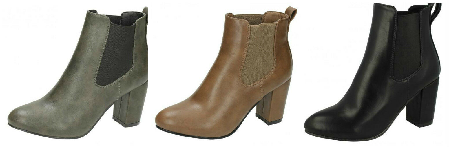 F5R0552- Ladies Anne Michelle Heeled Ankle Boots 3 Colours- Great Price