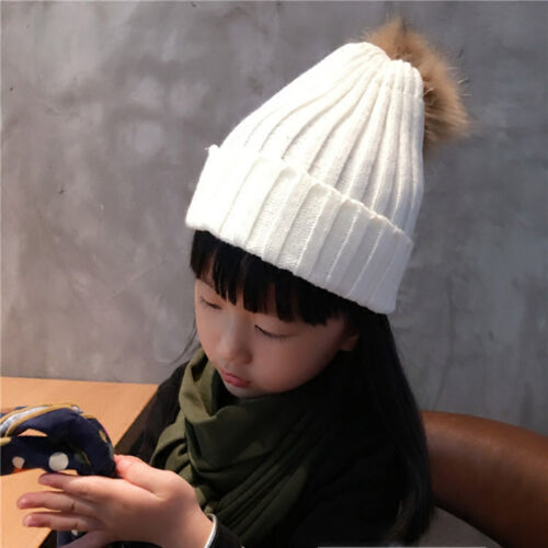 Child Baby Warm Winter Real Large Raccoon Fur Pom Pom Knitted Beanie Thick Hat