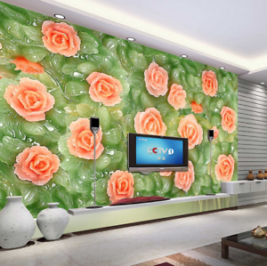 3D Green Jade Pink Flowers9 Wallpaper Mural Paper Wall Print Wallpaper Murals UK