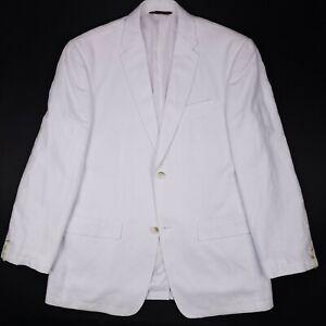 White-Sport-Coat-44R-Linen-Cotton-Blend-Perry-Ellis-2-Button-Center-Vent-Mens-Sz
