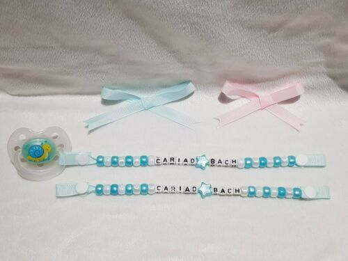 """Pacifier Welsh Baby Dummy Clip Keepsake /""""Cariad Bach/"""" Blue Gift"""